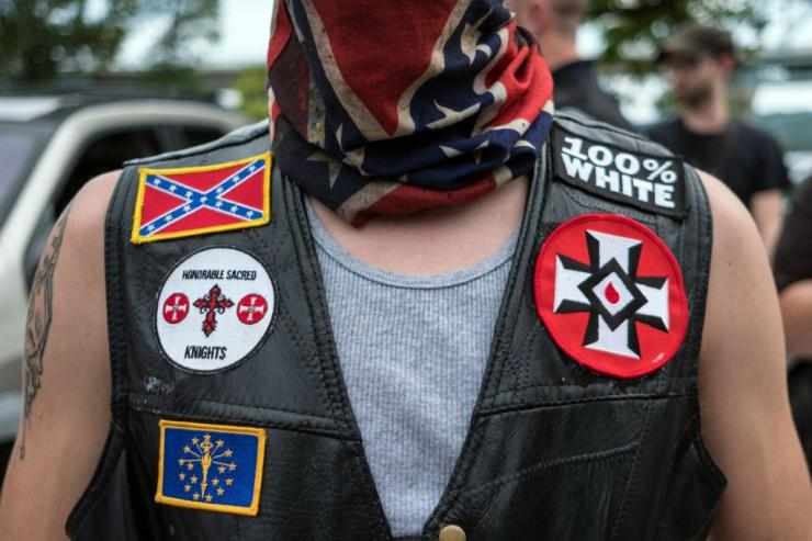 White supremacist racist organization Ku Klux Klan (KKK) members are seen during a rally in Madison, Indiana, United States on August 31, 2019. Sumber: The Rollingstone.com
