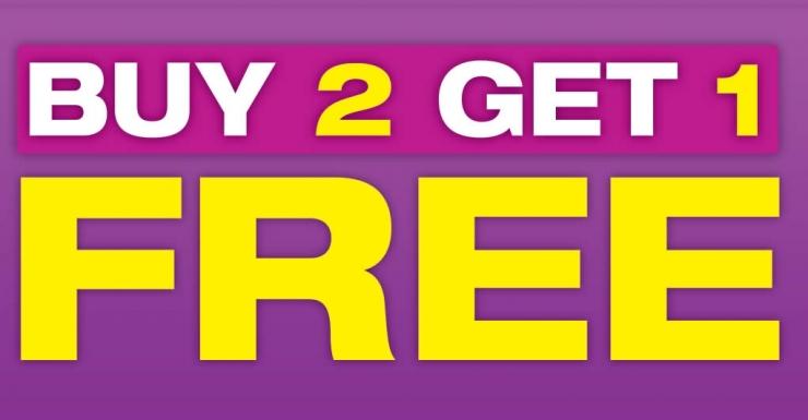 Promosi beli dua gratis satu (sumber: singpromos.com)