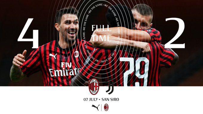 AC Milan tundukkan Juventus 4-2 di San Siro. | foto: twitter @acmilan