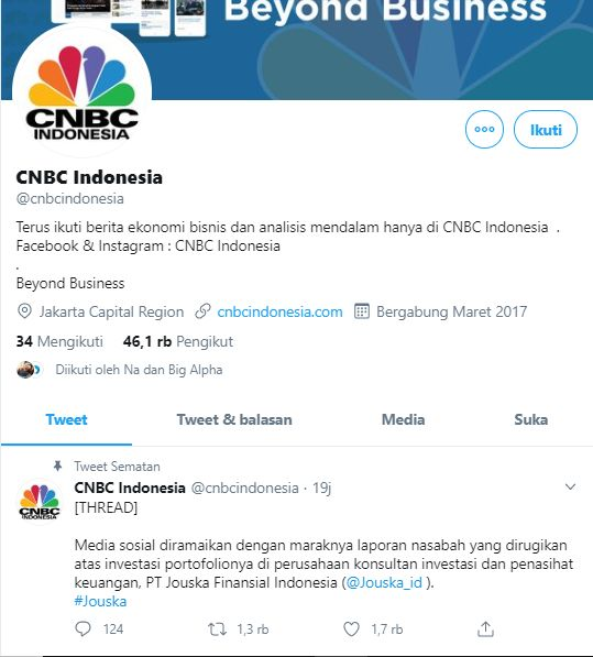 Pemberitaan Jouska oleh CNBC di twitter | sumber: @cnbcindonesia