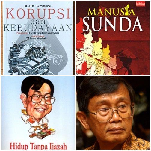 Ajip Rosidi dan beberapa buku karya beliau (Foto: tokopedia/merdeka.com)