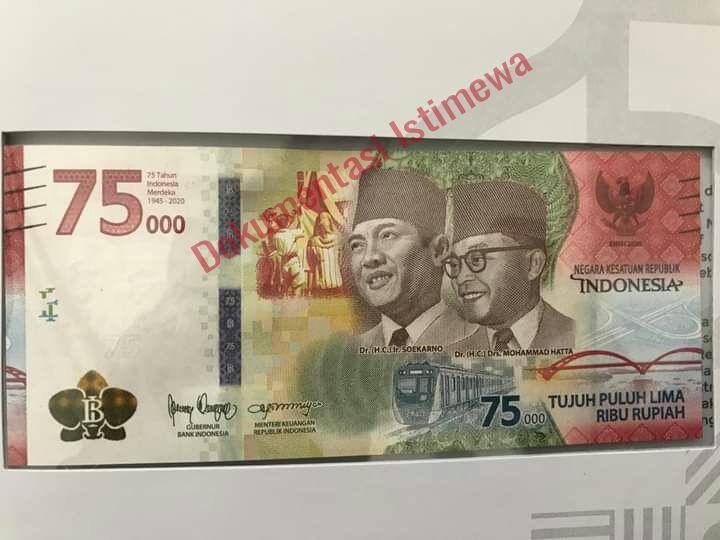 Beredar foto diduga uang peringatan HUT ke-75 RI yang akan diluncurkan pada 17 Agustus 2020. (Dok. Istimewa)