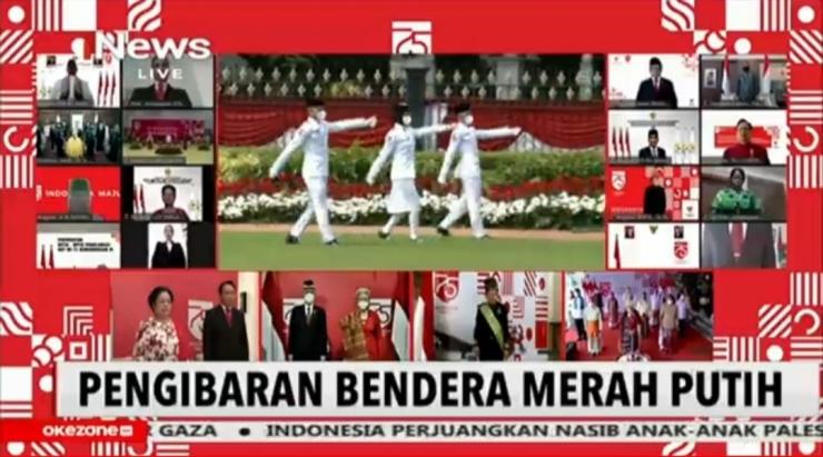 Pengibaran bendera merah putih di istana negara, 17 Agustus 2020. Screenshot live streaming Official INews. Dokpri