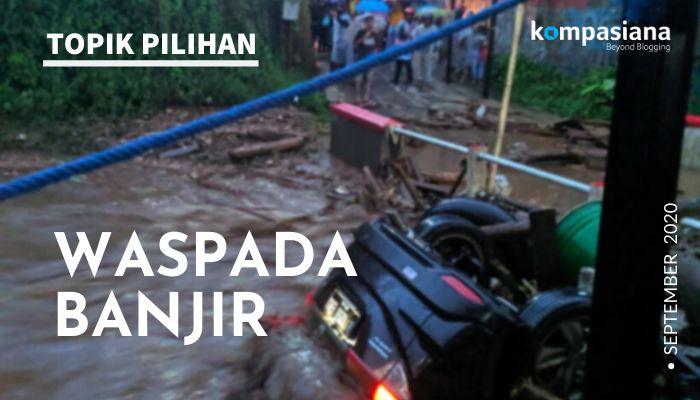 Banjir bandang melanda Kampung Cibuntu, Desa Pasawahan, Kecamatan Cicurug, Kabupaten Sukabumi, Jawa Barat, Senin (21/9/2020) sore. (Ilustrasi diolah dari foto DOKUMENTASI HUMAS BNPB)