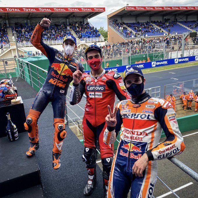 Podium MotoGP Le Mans (11/10). Gambar: Twitter/Motogp
