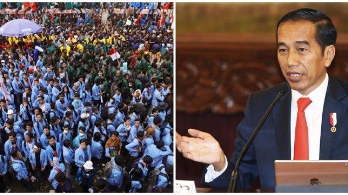 Ilustrasi gambar kolase foto Presiden Jokowi dan Aksi Demonstrasi Mahasiswa | Dokumen Tribunnews.com