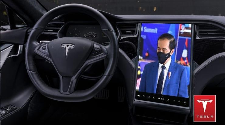 Sebuah Ilustrasi interior mobil Tesla (tesla.com/David Predeu)