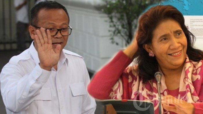 Menteri KKP 2019-2024 Edhy Prabowo dan Menteri KKP 2014-2019 Susi Pudjiastuti   tribunnews.com
