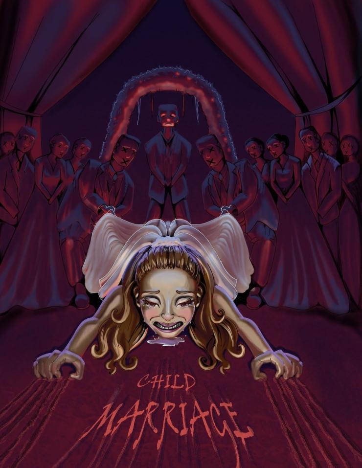 Perkawinan usia anak adalah horror. Sumber: Banna Balleh di artstation.com