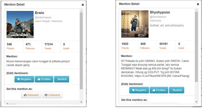 Gambar 3. Contoh mention negatif pada topic Pilkada (Dokpri, screenshot)