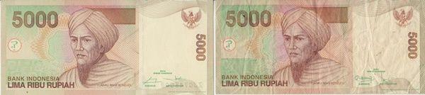 Ilustrasu uang Rp5.000 dengan kondisi bagus/kiri dan kurang bagus/kanan (Dokpri)