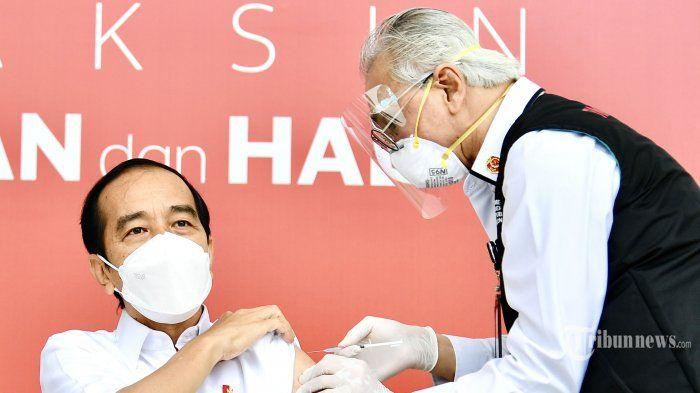 Presiden Joko Widodo menjalani penyuntikan perdana vaksin Covid 19 (Biro Pers Sekretariat Presiden/tribunnews.com)