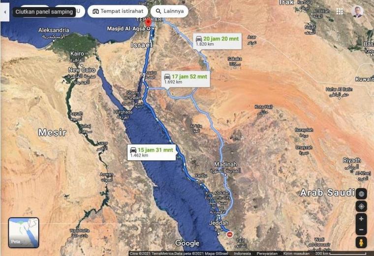 Tiga jalur darat Al-Harram ke Al-Aqsa/Google Map