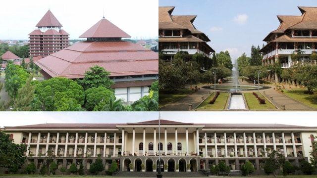 Landmark (searah jarum jam) dari Universitas Indonesia, Institut Teknologi Bandung, dan Universitas Gadjah Mada (kredit: laman masing - masing kampus)