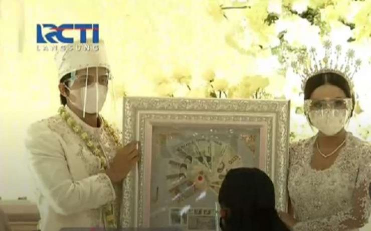 Mahar Pernikahan Uang Kertas Rupiah Atta Aurel /photo courtesy RCTI / kompas.com