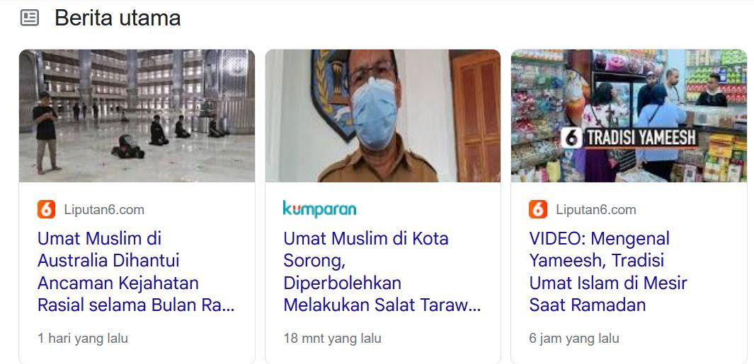 Berita Umat Muslim | Tangkapan layar dari google.com/umat muslim