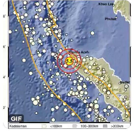 Pusat Gempa Bumi di Jantho Aceh Besar ( Doc BMKG / Istimewa)