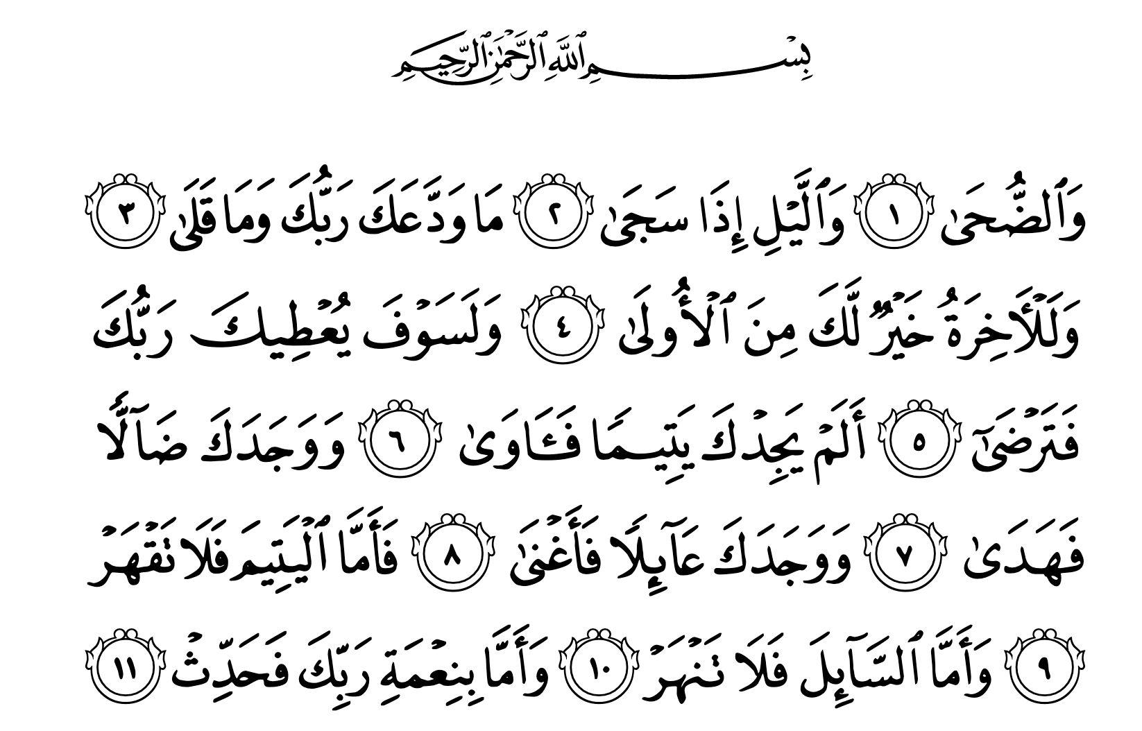 Surat Ad-Duhaa (kredit: Quran.com)