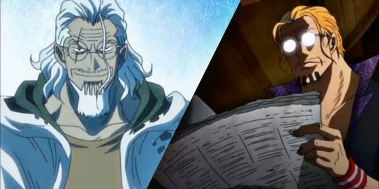 Silvers Rayleigh saat masih aktif di dunia bajak laut (kanan), dan saat sudah pensiun (kiri)