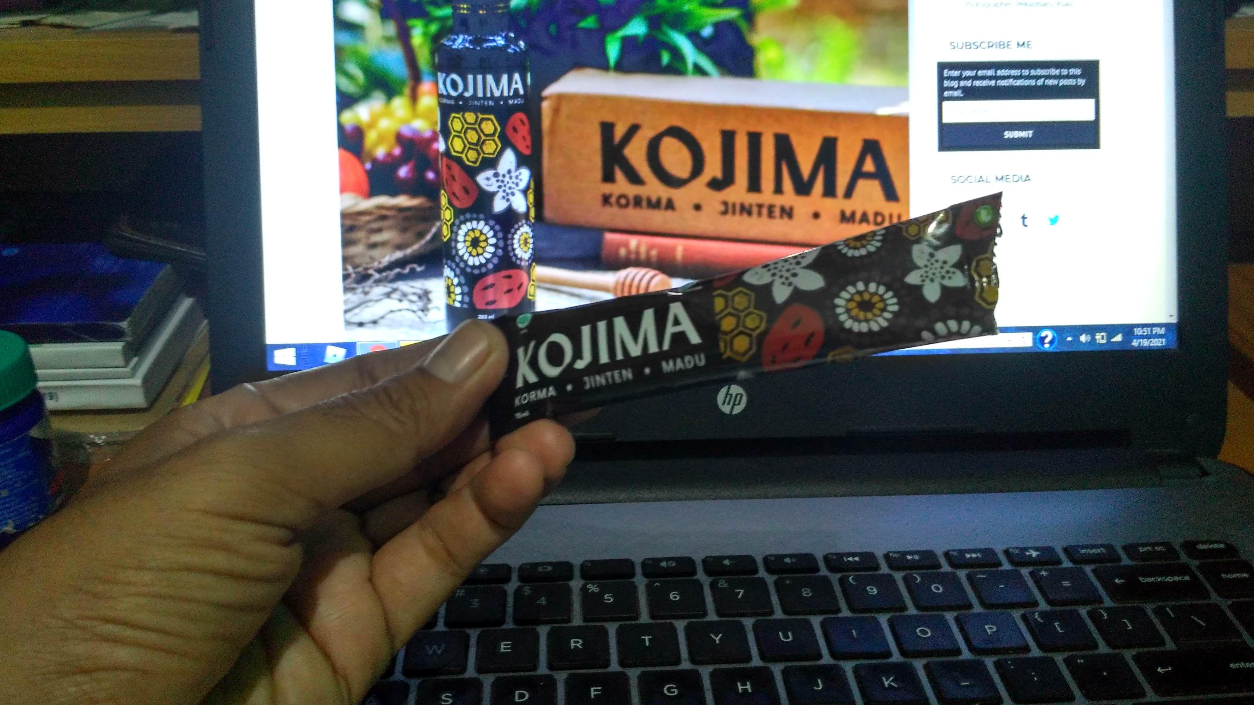 Kojima kemasan stick pack telah menjadi kawan saya dalam bekerja menulis dari rumah di masa pandemi/Foto pribadi