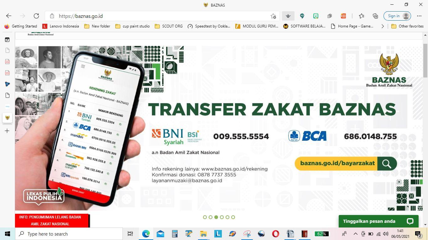 Pembayaran Zakat Online Melalui Baznas (Sumber foto: https://baznas.go.id )