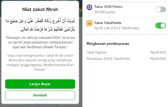 Niat zakat fitrah di aplikasi belanja online   dok. pribadi.