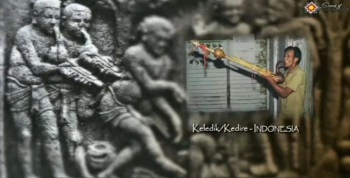 Representasi alat musik Keledik di relief Borobudur   screenshot www.youtube.com/watch?v=0BFIV5yLQS8