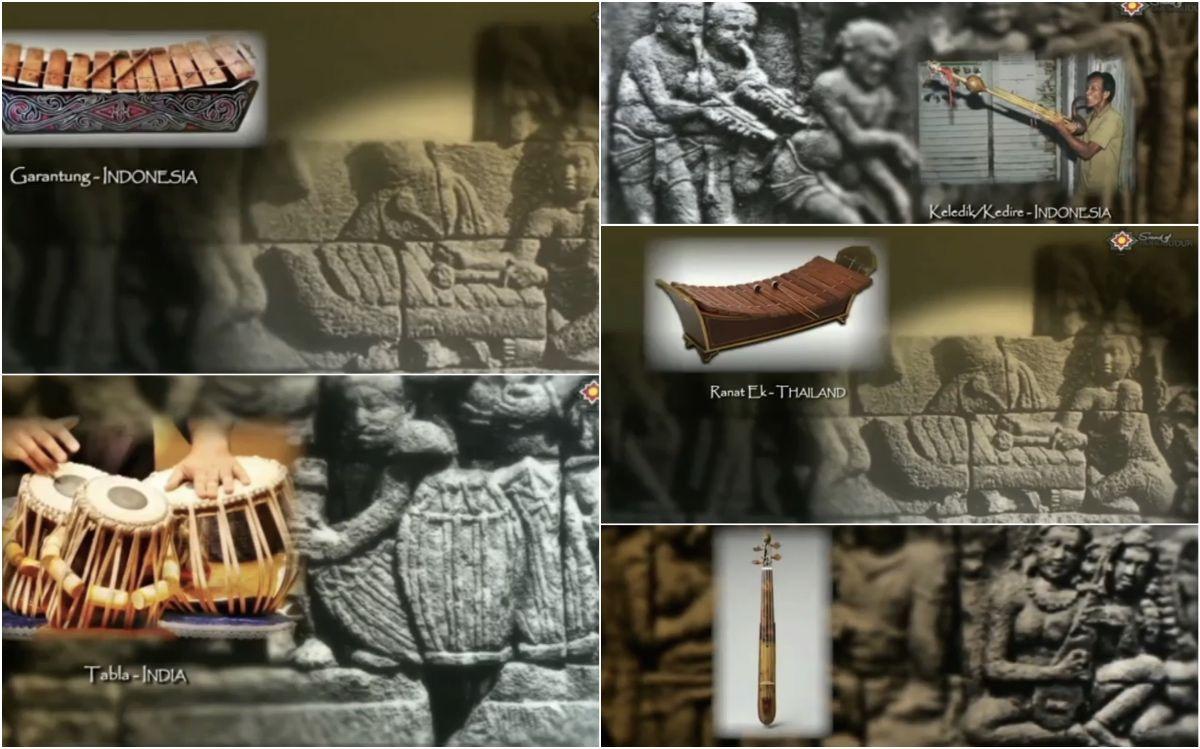 Representasi alat-alat musik di relief Candi Borobudur |screenshot www.youtube.com/watch?v=1c9aCENDesI.