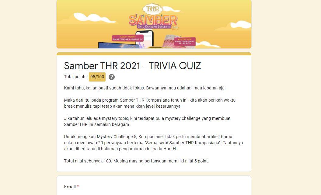 Tangkap layat Trivia Quiz Kompasiana. | Dokumentasi Pribadi