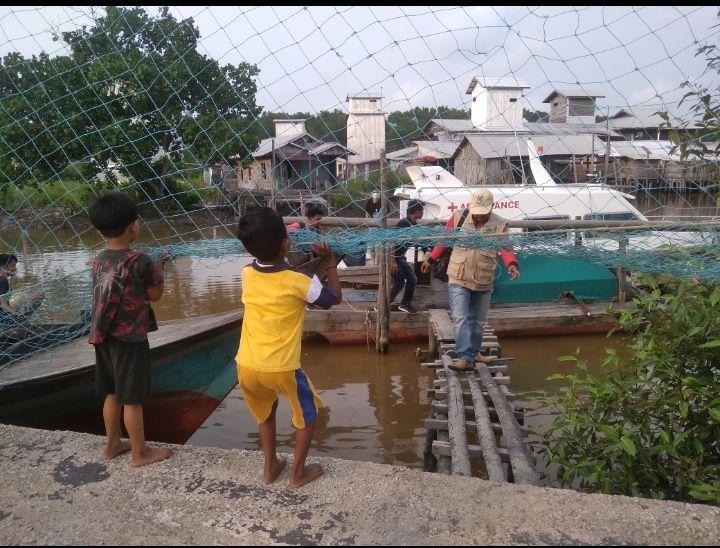 Salah satu tempat parkir transportasi air di Bekawan. (Foto : Elvidayanty/dok. Dinkes Inhil)