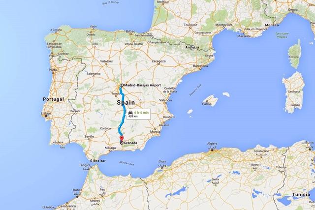 Rute Madrid-Granada menurut Google Maps