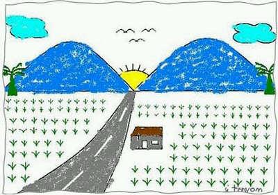 Mari Belajar Menggambar Pemandangan Gunung Dan Sawah Oleh Jonatan