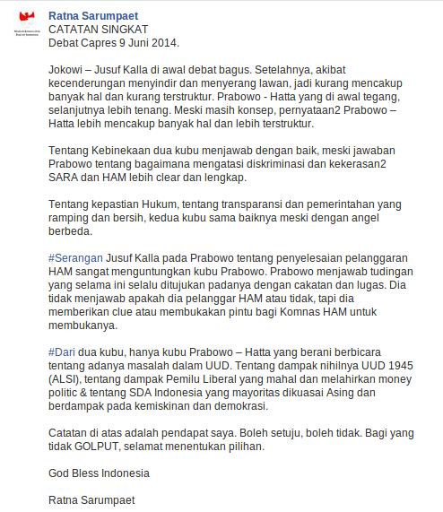Dalam Debat Capres 1 Prabowo Contoh Pemimpin Yang Kuat Dan Tegas